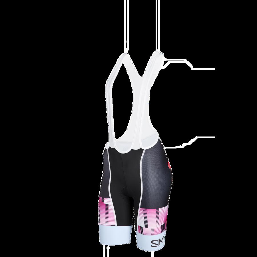 Women's Cycling Bib xsmall Berry - Powder Blue